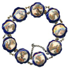 Bracelet--Late 19th C. Satsuma Cobalt Bird Pottery in Silver Plated Brass