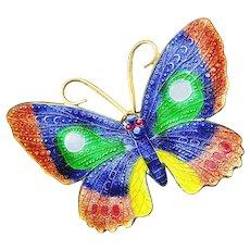 Brooch--Vintage Basse Taille Enamel on Brass Butterfly
