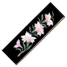 Brooch--Mid-19th C. Pietra Dura Pink Carnations