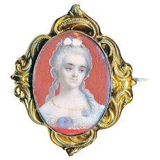 Brooch--Mid-19th C. Painted Portrait Under Glass in Vermeil