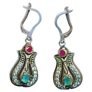 Earrings--Georgian Style Sterling Silver Ruby and Emerald Dangles