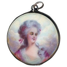 Locket--Guilloche and Hand Painted Enamel Portrait on Sterling Silver
