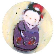 Button--Small Modern Paperweight Glass Kokeshi Doll