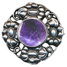 Brooch--Large Hand Crafted Vintage Repousee Silver Floral with Purple Stone