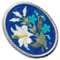 Brooch or Pendant--Blue Lapis Pietra Dura White Lilies in Silver