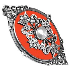 Brooch--Early 20th C. Coral, Pearl, and Marcasite in Sterling Silver from Germany