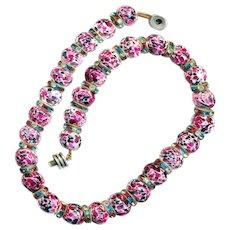 Necklace--Very Fine Vintage Rousselet Pate de Verre Glass Beads