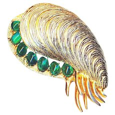 Brooch--Vintage Costume Mussel with Green Glass by Boucher
