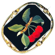 Brooch--Large Mid-19th C. Pietra Dura Cherries in 14 Karat Gold