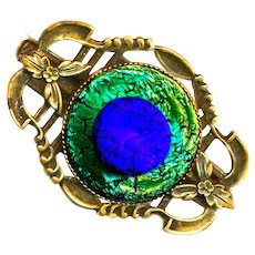 Brooch--Early 20th C. Open Work Brass and Peacock Eye Glass Jewel