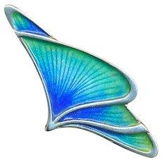 Brooch--Stylized Wings in Enamel on 0.800 Silver