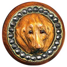 Button--Outstanding 19th c. Hand Carved Wood Hound Dog in Cut Steel Collar