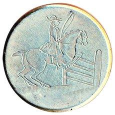 Button--Scarce Georgian 19th C. Equestrian Engraved Tombac