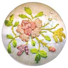 Button--Early 19th C. Floral Embroidery on Silk--Medium