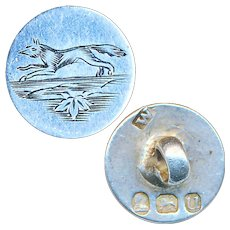 Button--Small Early 19th C. Engraved Sterling Silver Fox