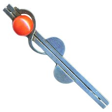 Brooch--Art Deco Tomato Red Coral and 0.800 Silver Bar Pin