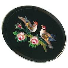 Brooch--19th C. Micromosaic Birds on Flowery Bough in Sterling Silver