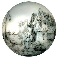 Button--Large Mid-19th C. Monochrome Transfer Porcelain Seaside Village