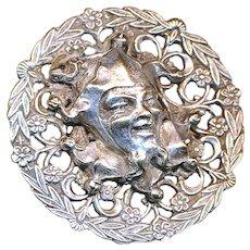 Button--Large Open Filigree French White Harlequin or Rigoletto