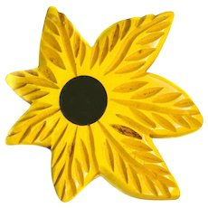 Button--Large Asymmetric Yellow Bakelite Inlay Figural Flower