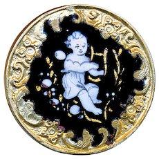 Button--Late 19th C. Rococo Border Enamel Monochrome Fairy with Lyre