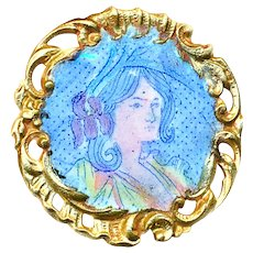 Button--Late 19th C. Colorful Enamel Lady Head on Open Edge Brass