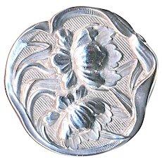 Button--Fine Art Nouveau Cast Sterling Silver Dianthus Flowers