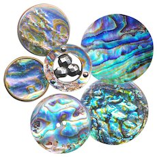 Buttons--6 19th C. Abalone and Paua Shell Pearl