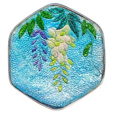 Button--Large Late 19th C. Japanese Cloisonne Foil Enamel Wisteria