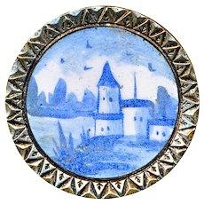 Button--Late 19th C. Blue Delft-like Enamel Scene on Brass Chevron Border