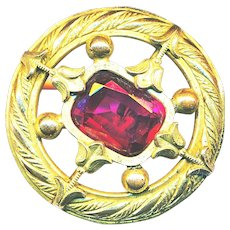 Button--Large Open-work Brass with Deep Rose Pink Cut Glass Jewel