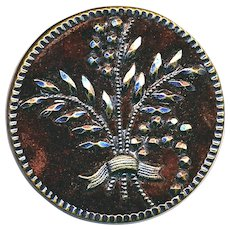 Button--Late 19th C. Large Velvet Ground Faux Tinted Cut Steel Foliate