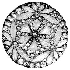 Button--Late 19th C. Brilliant Silver Backed Lacy Glass Star--Medium