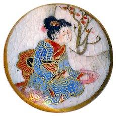 Button--Late 19th C. Satsuma Pottery Geisha in Colorful Kimono--Medium