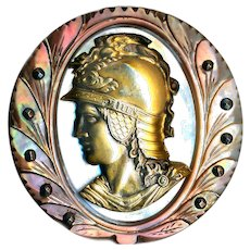 Button--Large Cameo Carved 19th C. Pearl with Minerva in Brass