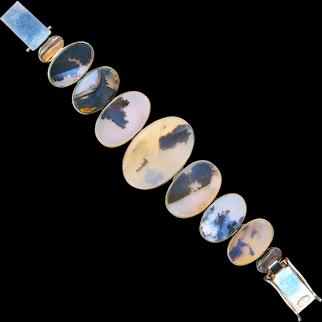 Bracelet--Large Vintage Translucent Agate in Sterling Silver