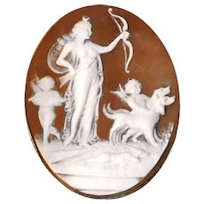Brooch--Large Fine 19th C. Shell Cameo of Diana Huntress, Dogs, and Putti