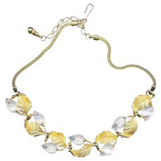 Necklace--Fine Vintage 1960s Signed Pennino Moonstone Glass in Gold Plated Chain