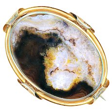 Brooch--Early to Mid-19th C. Translucent Agate Slab in 14 Karat Gold