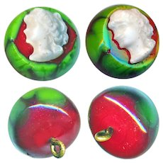 Button--ONE Scarce Unusual Shave-top Intermixed Glass with Glass Head Escutcheon