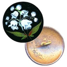 Button--Mid-19th C. Enamel Lilies of the Valley on Copper