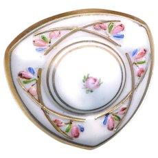 Button--Exquisite Triangular Enameled Victorian Milk White Glass