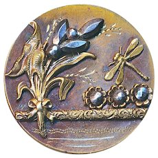 Button--Large Late 19th C. Heavy Brass Dragonfly in Cut Steel Marsh