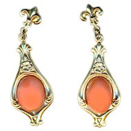 Earrings--Vintage Real Coral on Gold-filled Dangles