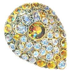 Fur Pin--Large Vintage Hobe Yellow Glass & Crystal
