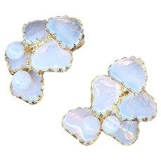 Earrings--Vintage Volupte Mayorka Petals--Opalescent Glass in Gold Tone Metal