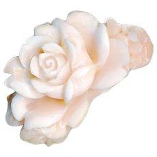 Brooch--Vintage Angel Skin Coral Carved Blown Rose