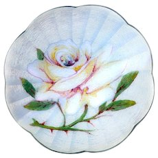 Brooch--Large Vintage Guilloche Emaux Peints Enamel in Silver White Rose