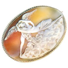 Brooch--Large 19th C. Shell Cameo Cupid & Psyche in 9 Karat Gold