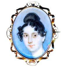 Brooch--Early 19th C. Portrait Under Glass Long Neck Lady--9 Karat Gold